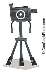 Photo camera on tripod vector illustration - Front view of...