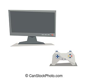 Game controller and screen vector illustration - Game...