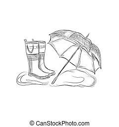 rain boots and umbrella, sketch