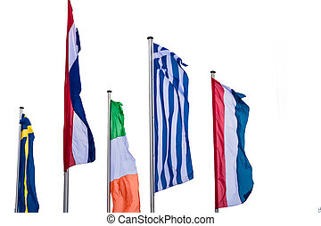 Several Europe countries flags