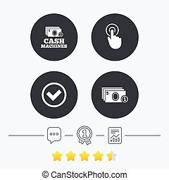 ATM cash machine withdrawal icons Click here, check PIN...