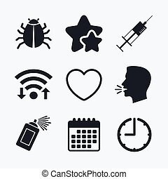Bug and vaccine signs Heart, spray can icons - Bug and...