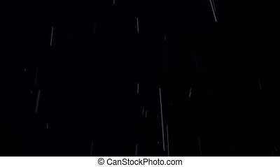 Night shot of real rain and snow - Falling snow and pouring...