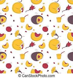 Pumpkin fruits and flowers seamless pattern - Pumpkin fruits...