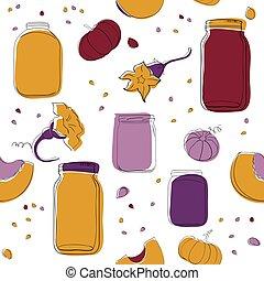 Pumpkin jam seamless pattern - Halloween Pumpkin jam vector...