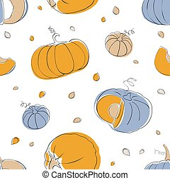 Pumpkin seamless pattern in light pastel colors - Halloween...