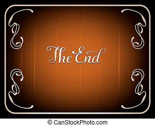 Final frame The End , cinema vector background in vintage...