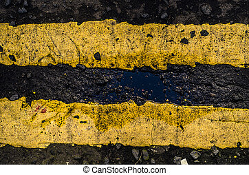 Grungy Yellow UK Road Markings - Grungy Double Yellow Line...