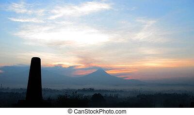 Sunrise timelapse in Borobudur temp - Indonesia, Java