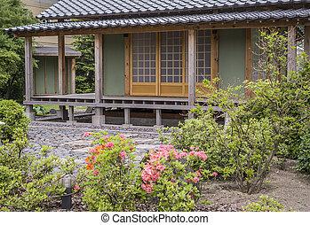 Japanese tea house - stylized Japanese-style wooden house