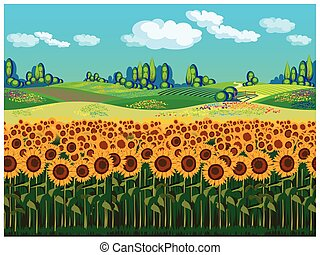 Scenic landscape with sunflowers