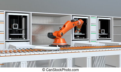 Smart factory concept - 3D printers and robotic arms in...