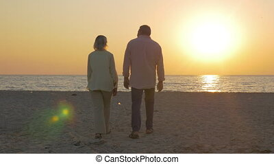 Senior couple embracing by the sea at sunset - Steadicam...