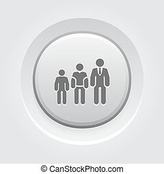 Career Growth Icon Grey Button Design Growing Silhouettes of...