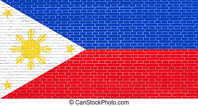 Flag of the Philippines on brick wall texture background...