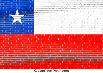 Flag of Chile on brick wall texture background Chilean...