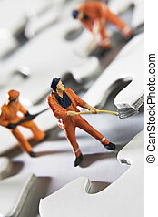 Putting the pieces back together - Worker figurines placed...