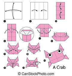 origami A Crab - step by step instructions how to make...