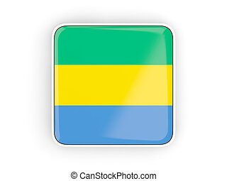Flag of gabon, square icon with white border. 3D...