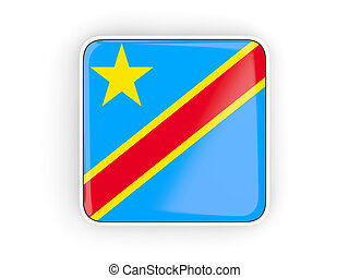 Flag of democratic republic of the congo, square icon with...
