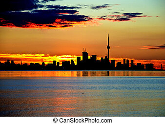 toronto silhouette - early morning silhouette of toronto...