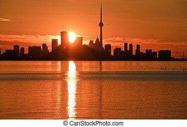 toronto sunrise - sunrise over toronto skyline