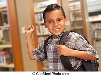 Hispanic Student Boy with Backpack in the Library - Happy...