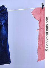 Clothes Line - A studio photo of a clothes line