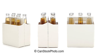 Six Pack of Clear Beer Bottles - Three views of a Six Pack...