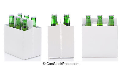 Three Six Packs of Beer - Three views of a Six Pack of green...