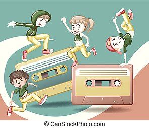 Retro design with tape casettes and people dancing...