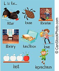 Many words begin with letter L illustration