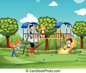 Children climbing up the playhouse