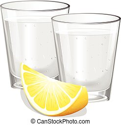 Two glasses of vodka with lemon