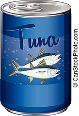 Canned food with tuna inside illustration