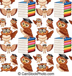Seamless background with owl and books illustration