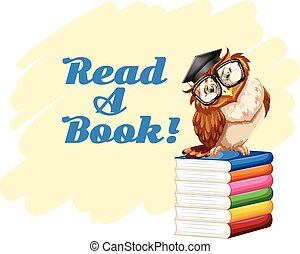 Poster with owl and books illustration