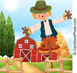 Farm scene with barn and scarecrow illustration