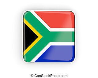 Flag of south africa, square icon with white border 3D...
