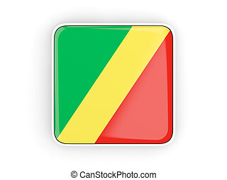 Flag of republic of the congo, square icon with white border...