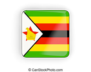 Flag of zimbabwe, square icon with white border 3D...