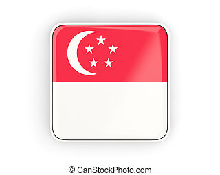 Flag of singapore, square icon with white border. 3D...