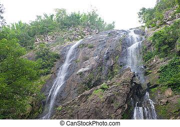 Khlong Lan waterfall, beautiful and famous waterfall at...
