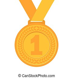 Gold Medal for the champion in the first place Flat icon,...