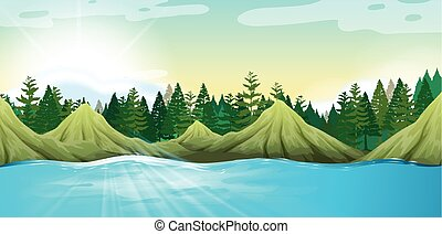 Scene with mountains and pine trees illustration