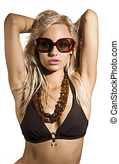 sexy woman with sunglasses - fashion shot of sexy blond girl...