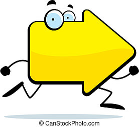 Arrow Running - A cartoon yellow arrow with eyes running