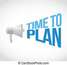 time to plan loudspeaker text message illustration design