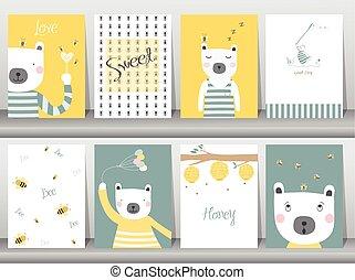 Set of cute bear cartoon