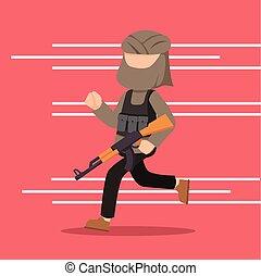 terrorist running for cover